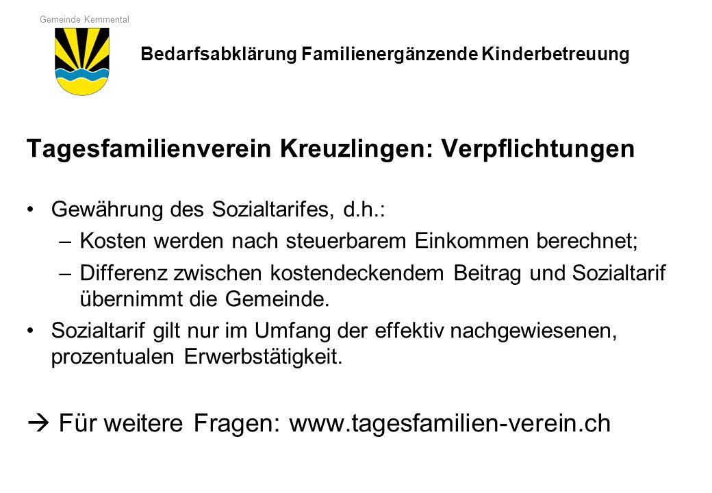 Tagesfamilienverein Kreuzlingen: Verpflichtungen