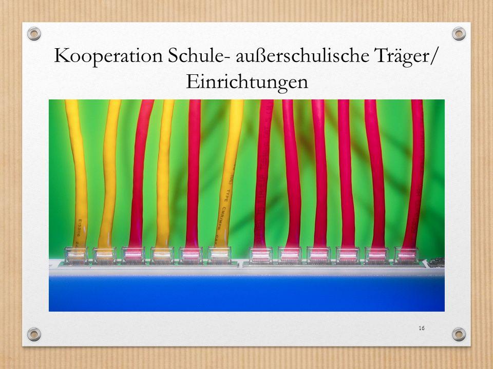 Kooperation Schule- außerschulische Träger/ Einrichtungen