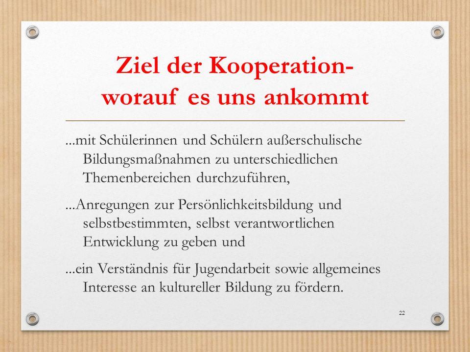 Ziel der Kooperation- worauf es uns ankommt
