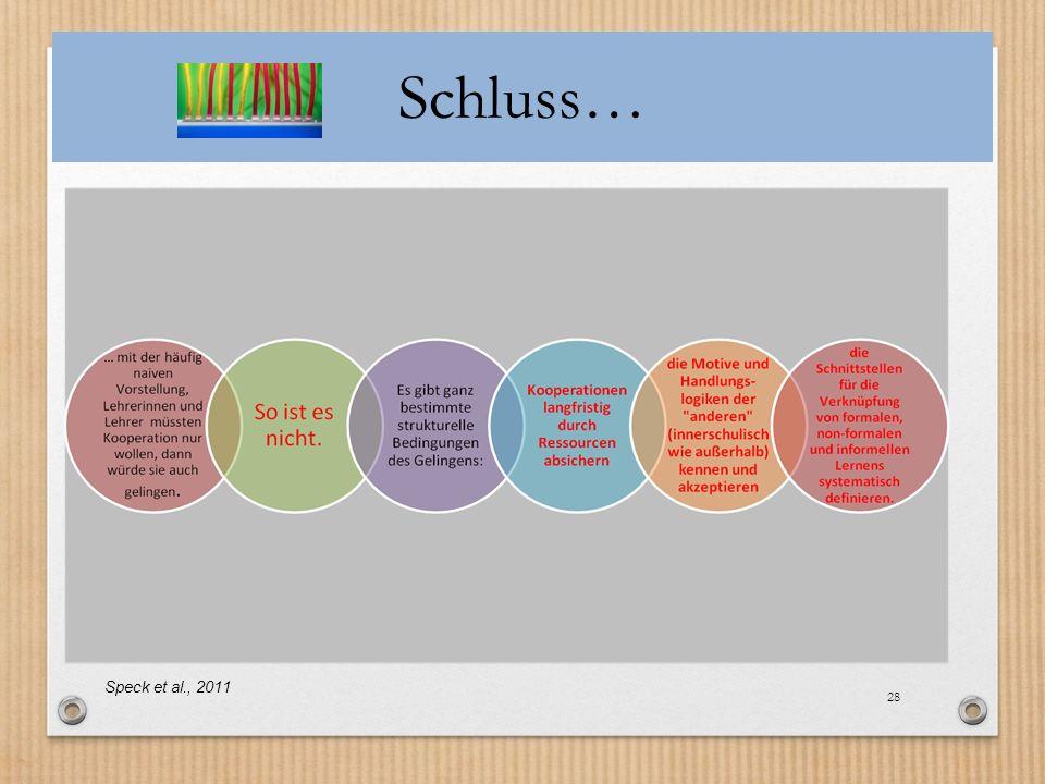 Schluss… Speck et al., 2011