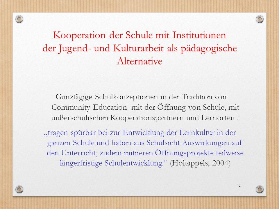 Kooperation der Schule mit Institutionen der Jugend- und Kulturarbeit als pädagogische Alternative