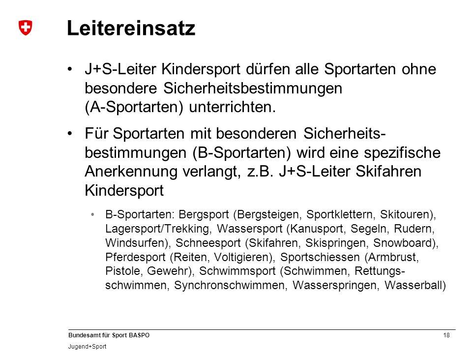 Leitereinsatz J+S-Leiter Kindersport dürfen alle Sportarten ohne besondere Sicherheitsbestimmungen (A-Sportarten) unterrichten.