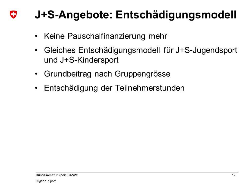 J+S-Angebote: Entschädigungsmodell