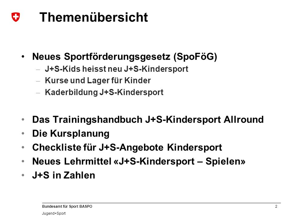 Themenübersicht Neues Sportförderungsgesetz (SpoFöG)