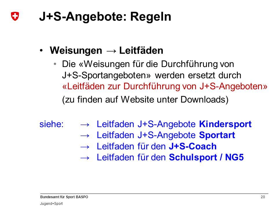 J+S-Angebote: Regeln Weisungen → Leitfäden