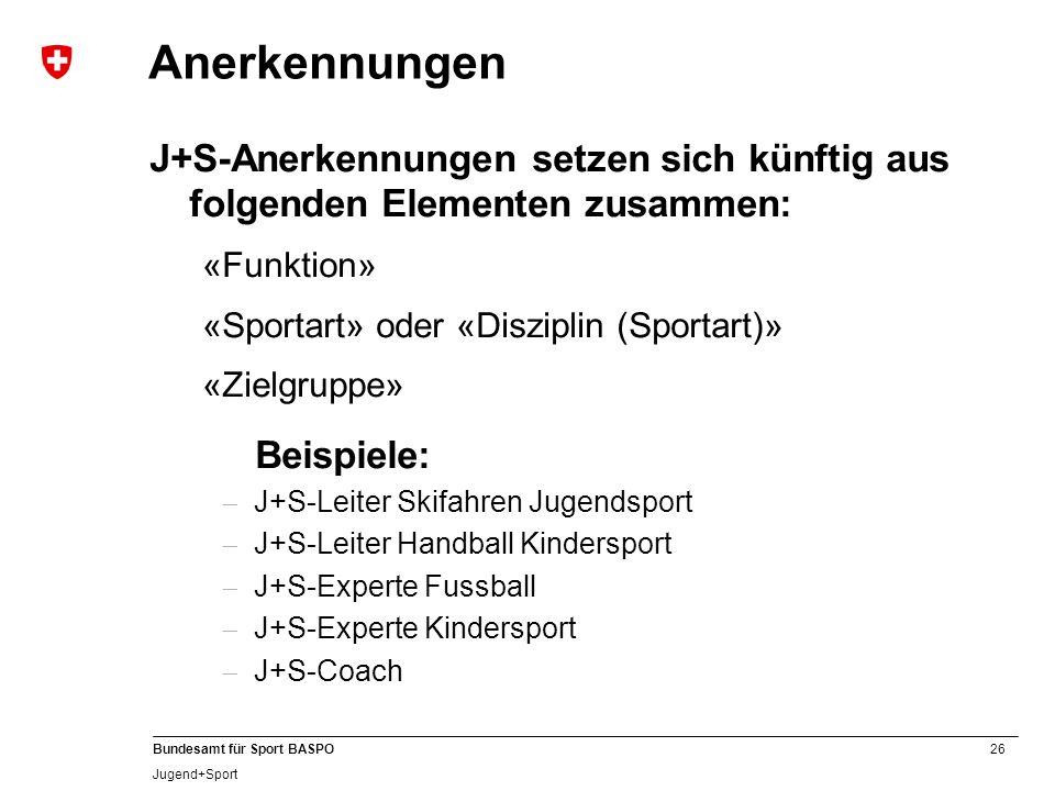 Anerkennungen J+S-Anerkennungen setzen sich künftig aus folgenden Elementen zusammen: «Funktion» «Sportart» oder «Disziplin (Sportart)»