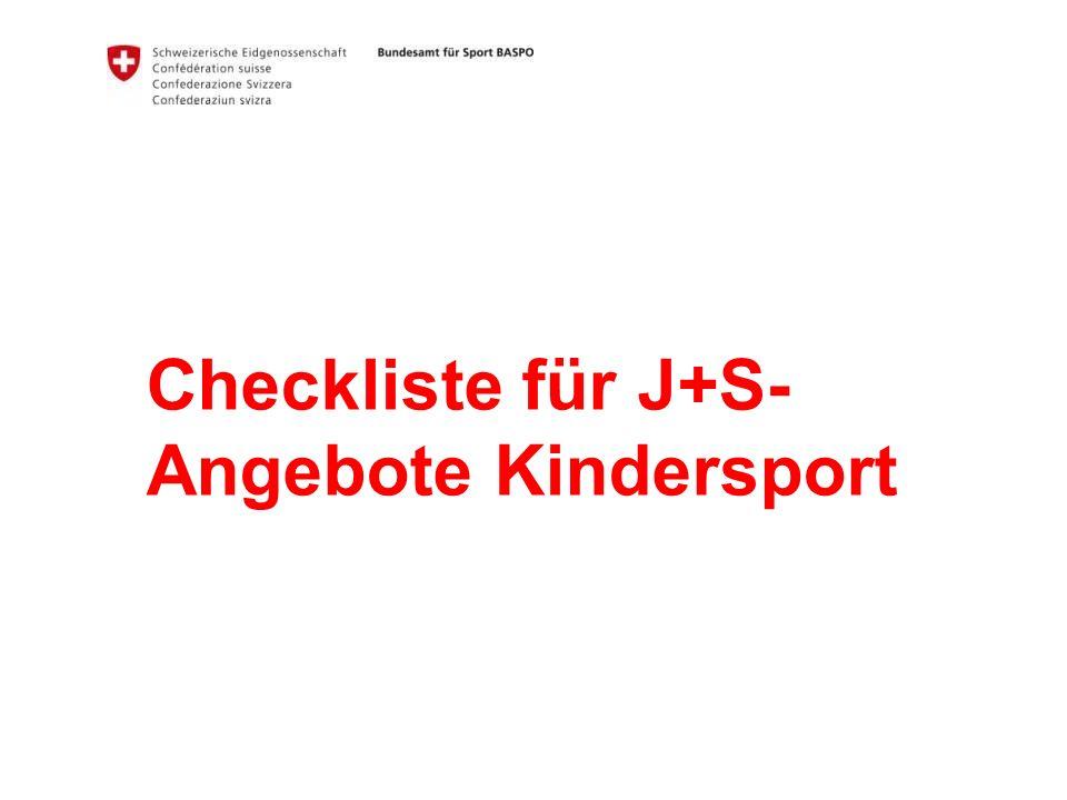 Checkliste für J+S-Angebote Kindersport