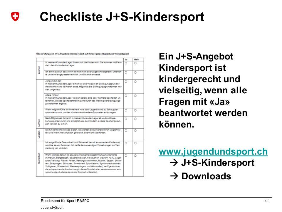 Checkliste J+S-Kindersport