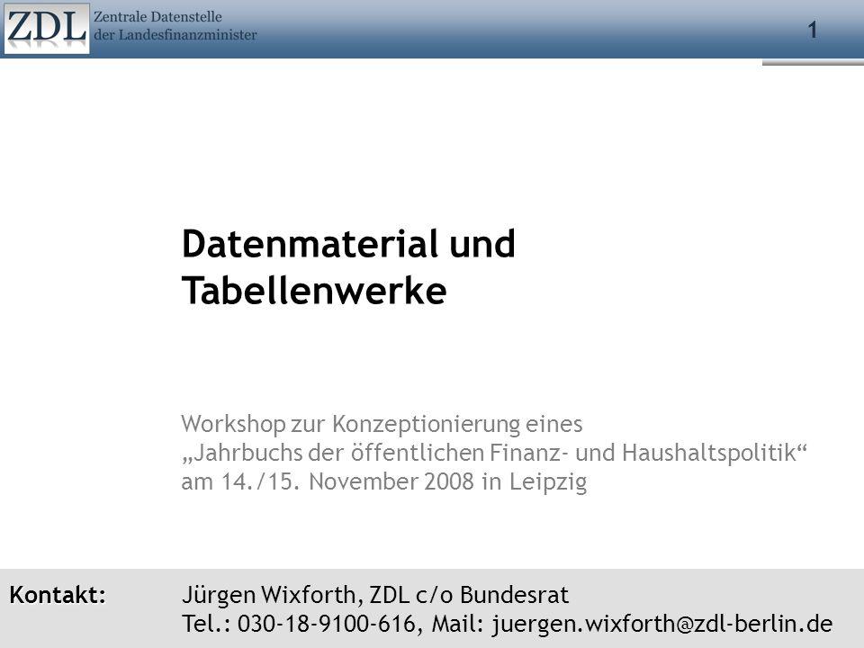 Datenmaterial und Tabellenwerke