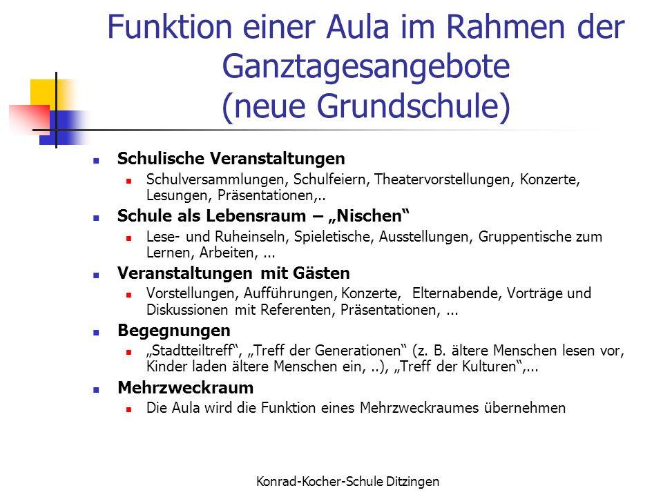 Funktion einer Aula im Rahmen der Ganztagesangebote (neue Grundschule)