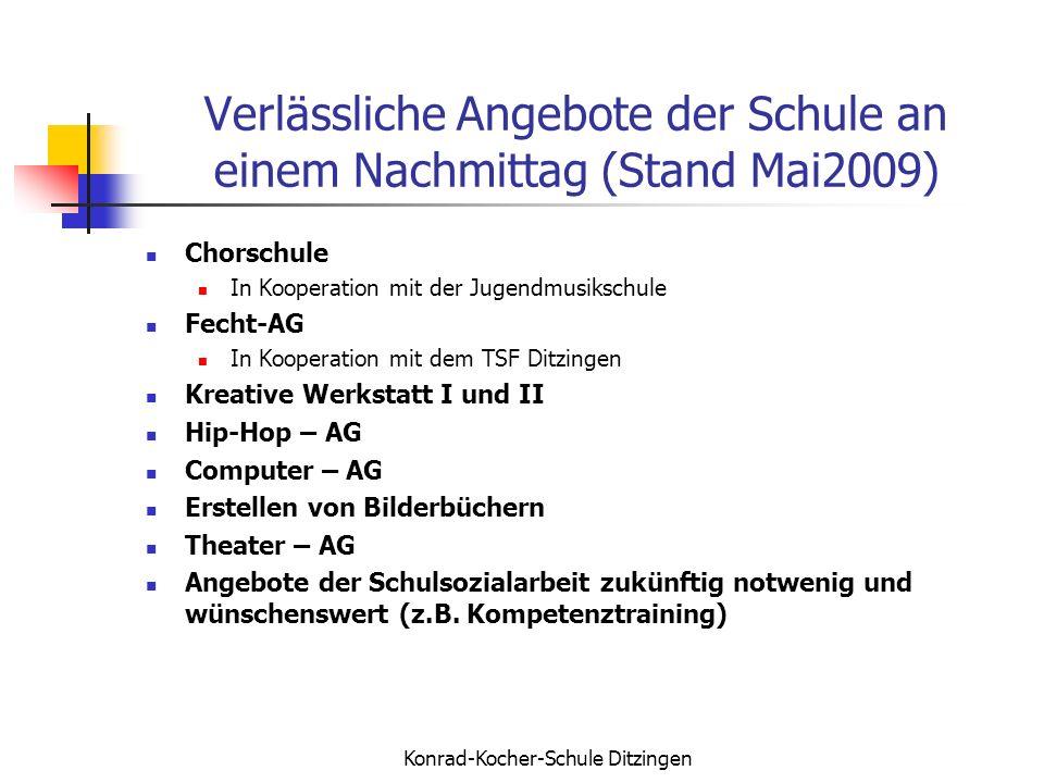 Verlässliche Angebote der Schule an einem Nachmittag (Stand Mai2009)