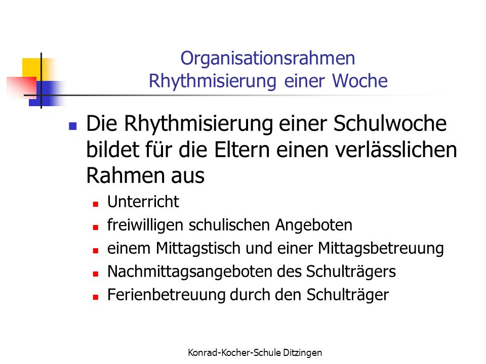 Organisationsrahmen Rhythmisierung einer Woche
