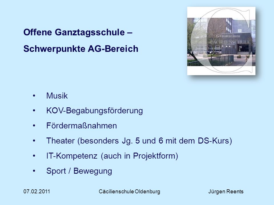 Cäcilienschule Oldenburg Jürgen Reents
