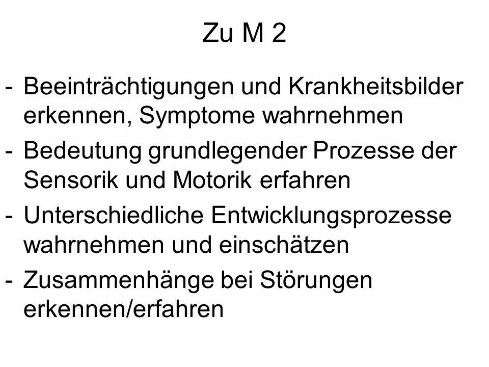 Zu M 2 Beeinträchtigungen und Krankheitsbilder erkennen, Symptome wahrnehmen. Bedeutung grundlegender Prozesse der Sensorik und Motorik erfahren.