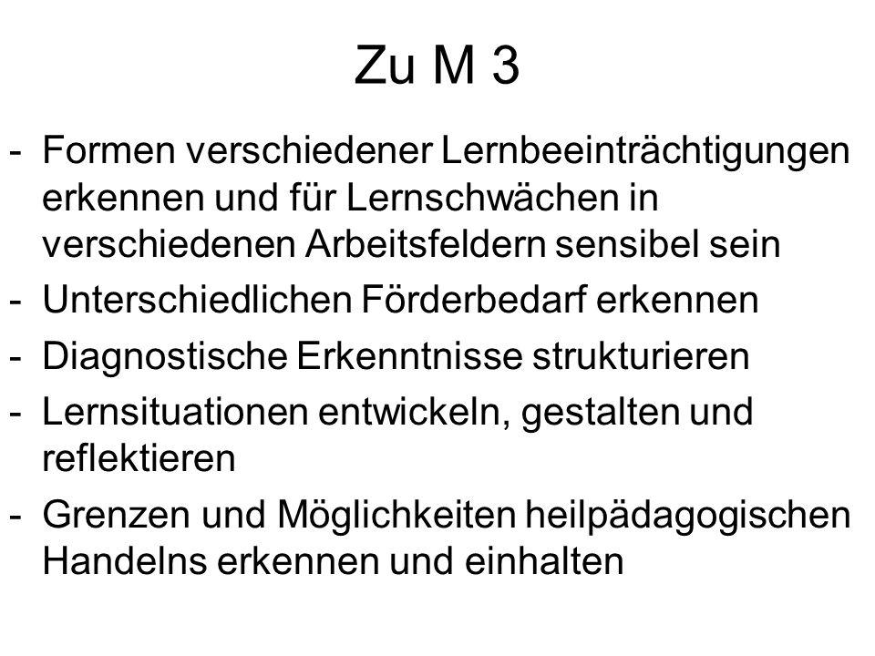 Zu M 3 Formen verschiedener Lernbeeinträchtigungen erkennen und für Lernschwächen in verschiedenen Arbeitsfeldern sensibel sein.