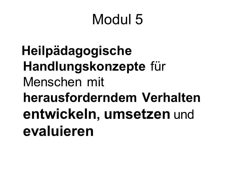 Modul 5 Heilpädagogische Handlungskonzepte für Menschen mit herausforderndem Verhalten entwickeln, umsetzen und evaluieren.