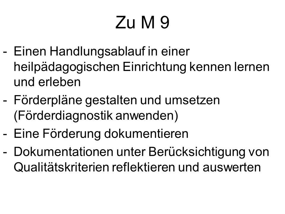 Zu M 9 Einen Handlungsablauf in einer heilpädagogischen Einrichtung kennen lernen und erleben.