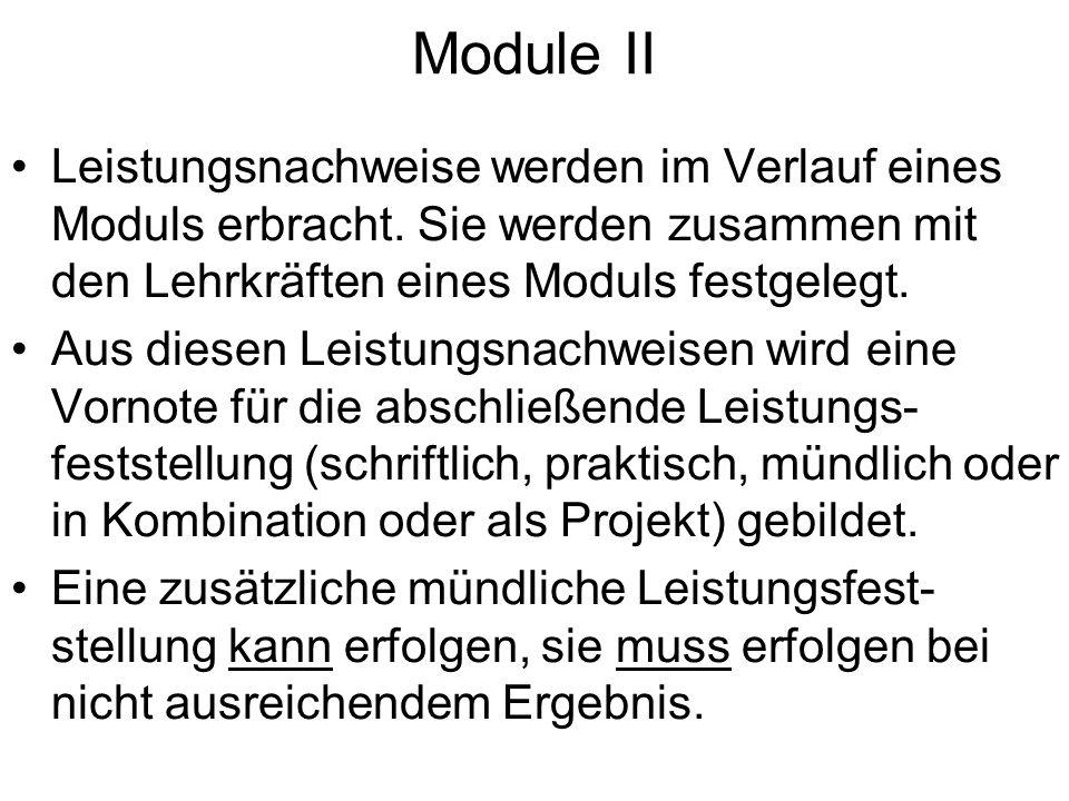 Module II Leistungsnachweise werden im Verlauf eines Moduls erbracht. Sie werden zusammen mit den Lehrkräften eines Moduls festgelegt.
