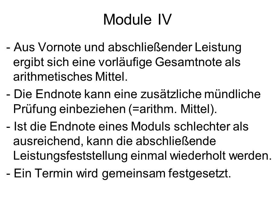 Module IV - Aus Vornote und abschließender Leistung ergibt sich eine vorläufige Gesamtnote als arithmetisches Mittel.