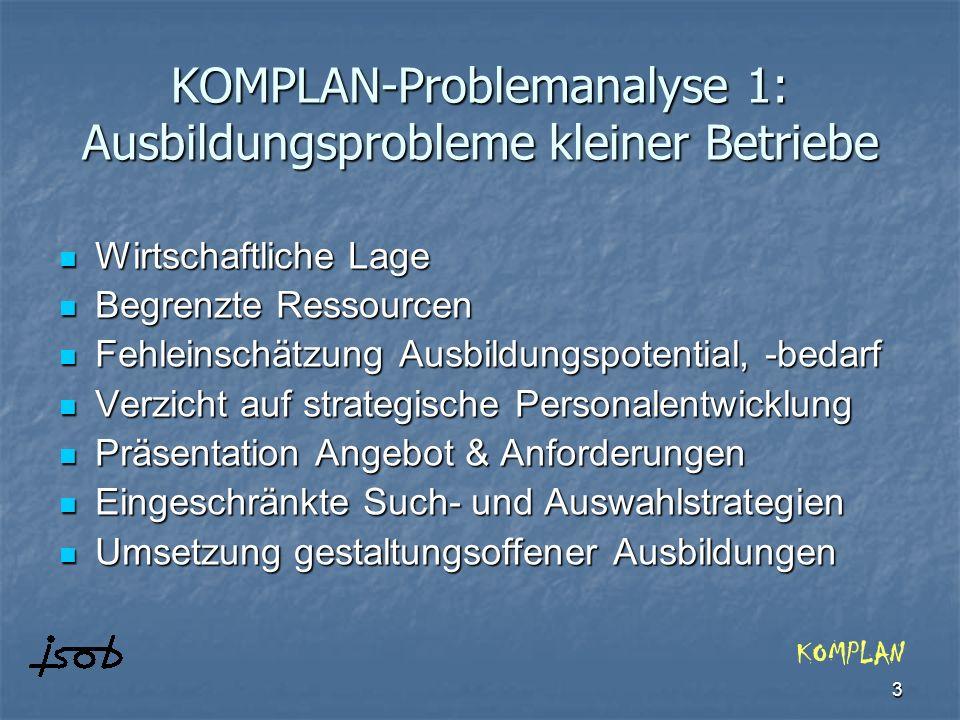 KOMPLAN-Problemanalyse 1: Ausbildungsprobleme kleiner Betriebe