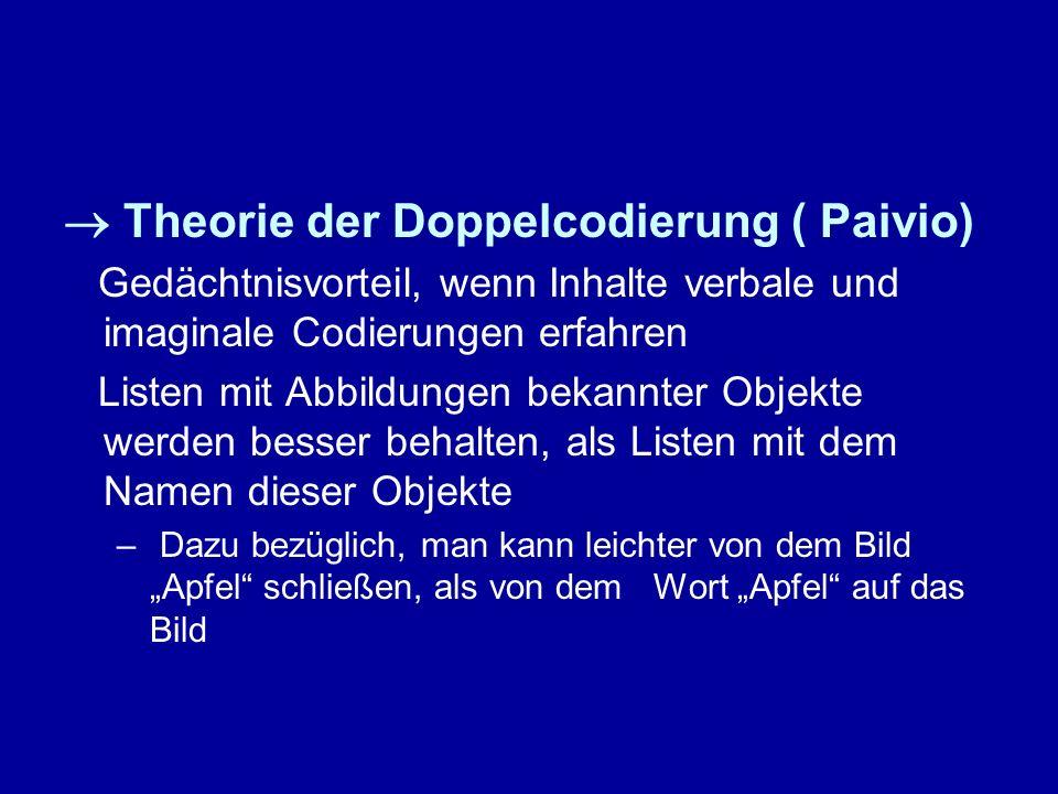  Theorie der Doppelcodierung ( Paivio)