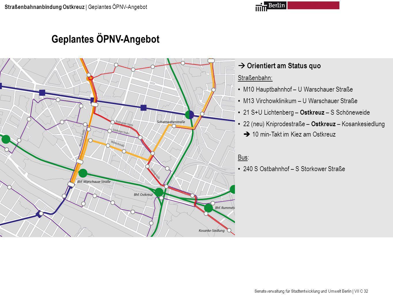 Geplantes ÖPNV-Angebot