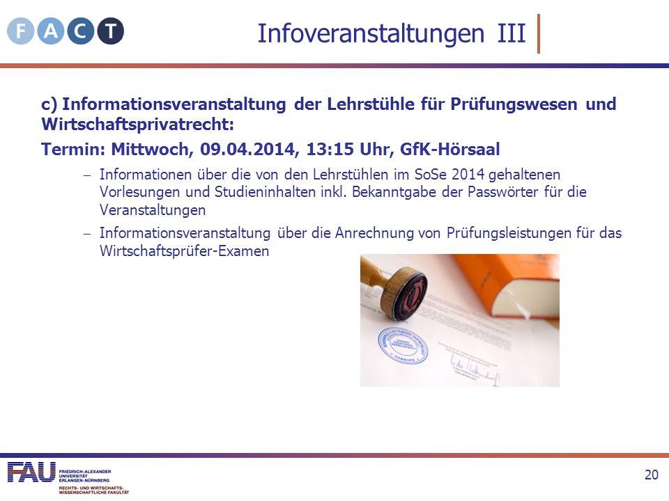 Infoveranstaltungen III