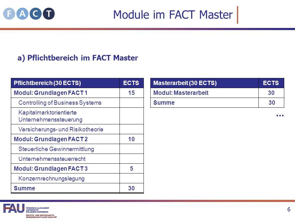 Module im FACT Master … a) Pflichtbereich im FACT Master