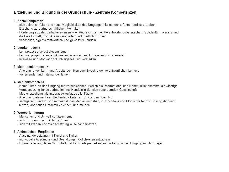 Erziehung und Bildung in der Grundschule - Zentrale Kompetenzen 1