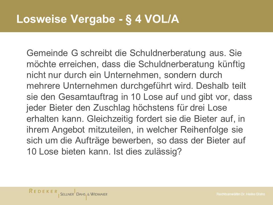 Losweise Vergabe - § 4 VOL/A