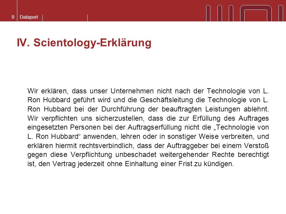 IV. Scientology-Erklärung