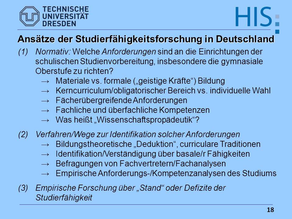 Ansätze der Studierfähigkeitsforschung in Deutschland