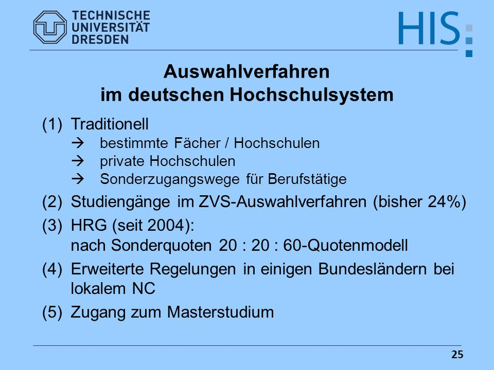 im deutschen Hochschulsystem