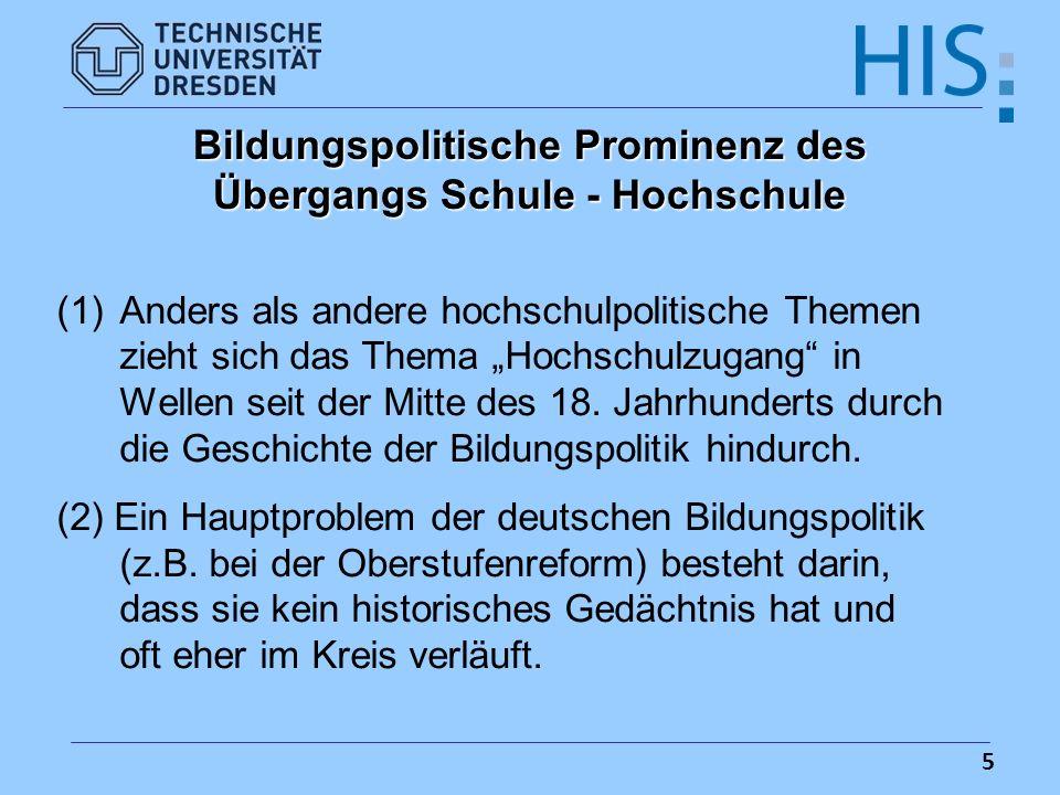 Bildungspolitische Prominenz des Übergangs Schule - Hochschule