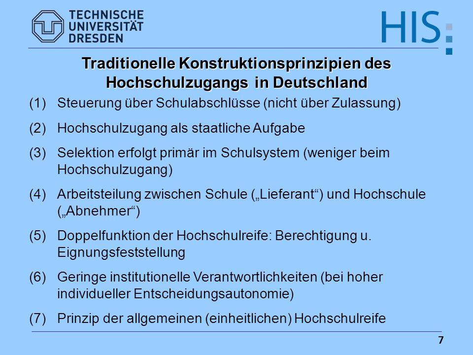 Traditionelle Konstruktionsprinzipien des Hochschulzugangs in Deutschland