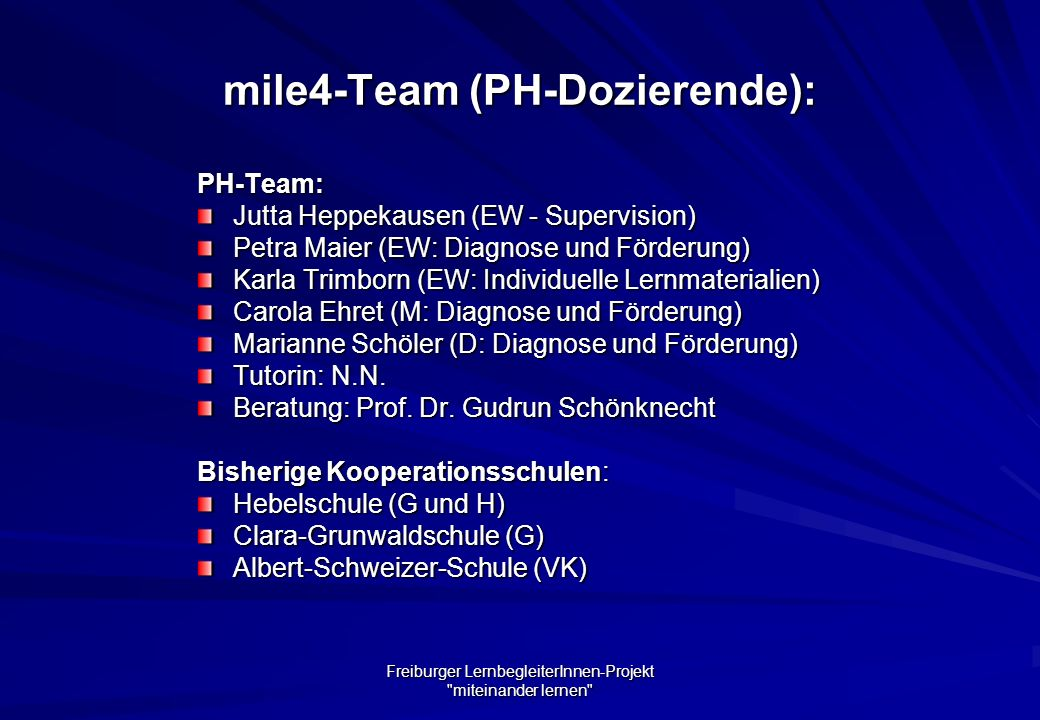 mile4-Team (PH-Dozierende):