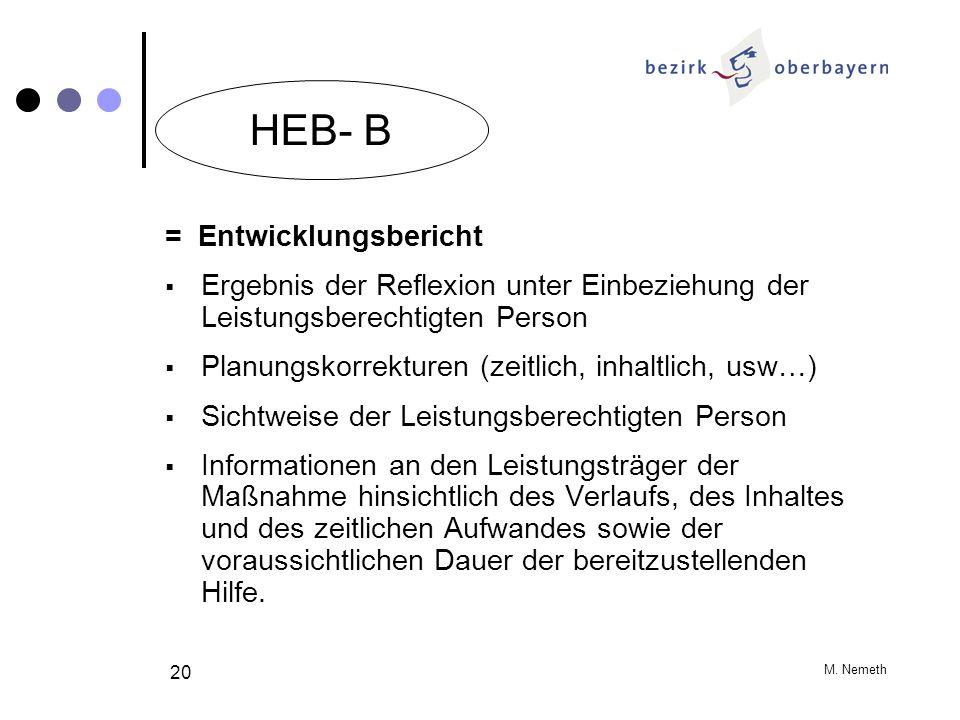 HEB- B = Entwicklungsbericht