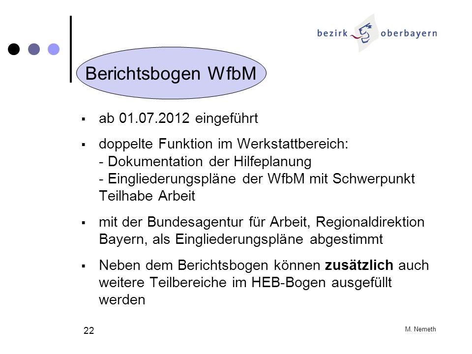 Berichtsbogen WfbM ab 01.07.2012 eingeführt