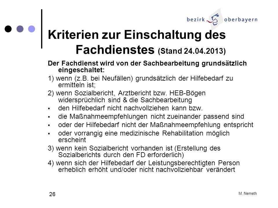 Kriterien zur Einschaltung des Fachdienstes (Stand 24.04.2013)