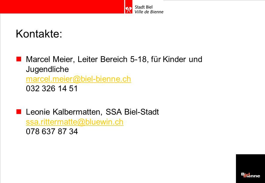 Kontakte:Marcel Meier, Leiter Bereich 5-18, für Kinder und Jugendliche marcel.meier@biel-bienne.ch 032 326 14 51.