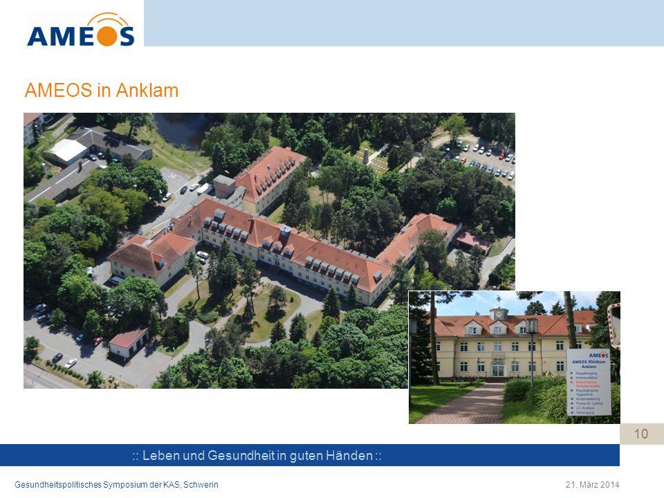 AMEOS in Anklam Gesundheitspolitisches Symposium der KAS, Schwerin