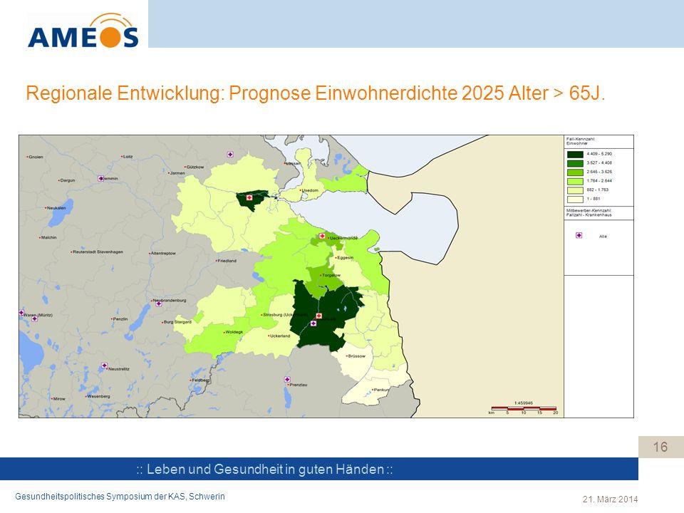 Regionale Entwicklung: Prognose Einwohnerdichte 2025 Alter > 65J.