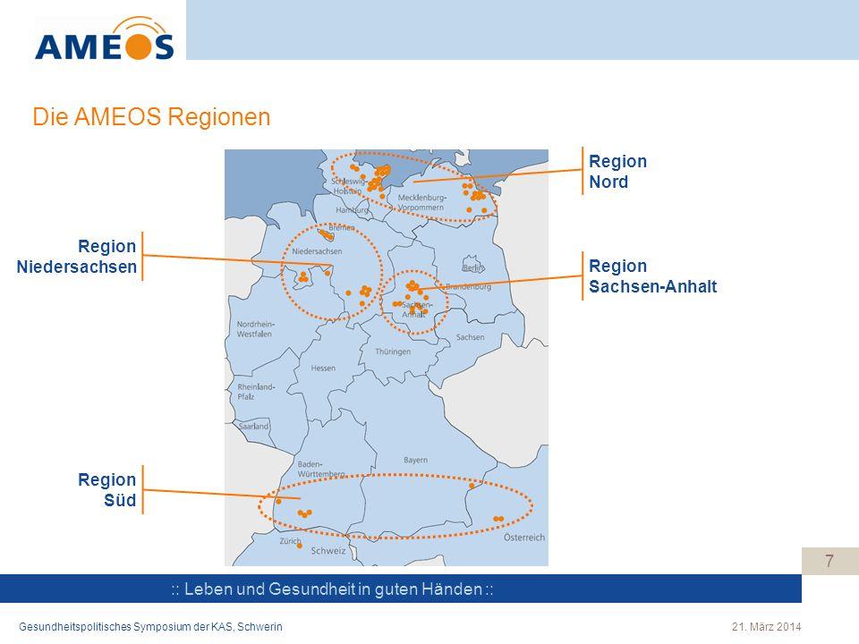 Die AMEOS Regionen Region Nord Region Niedersachsen Region