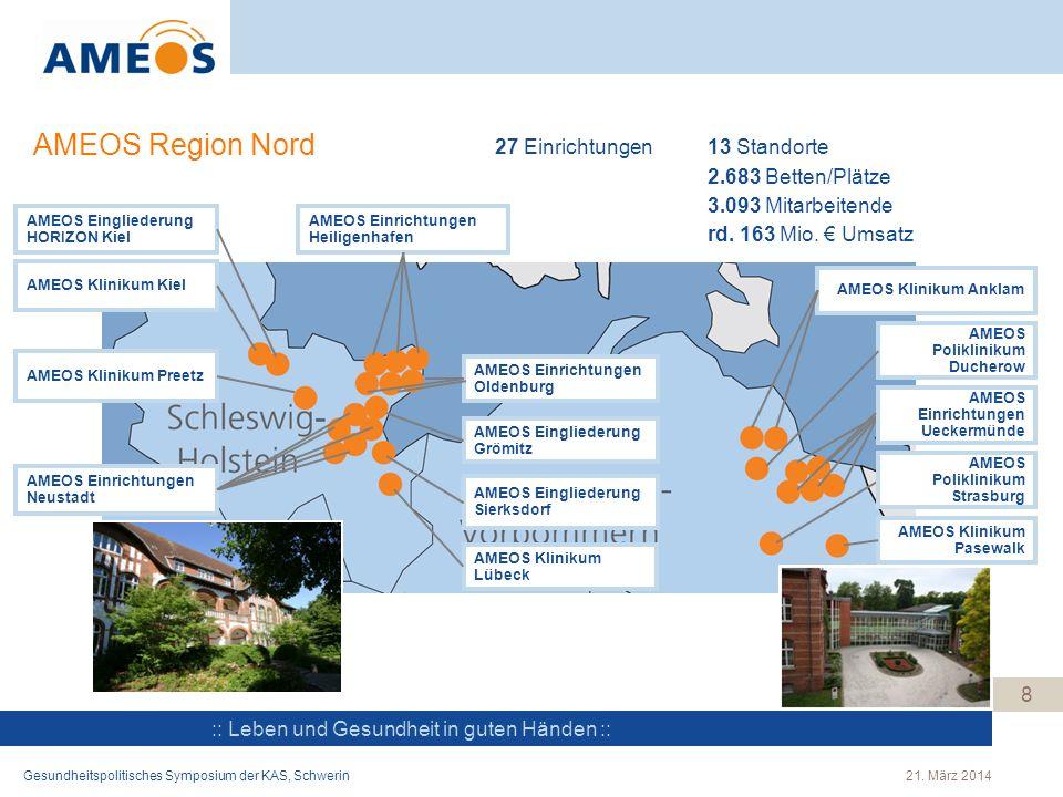 AMEOS Region Nord 27 Einrichtungen 13 Standorte 2.683 Betten/Plätze