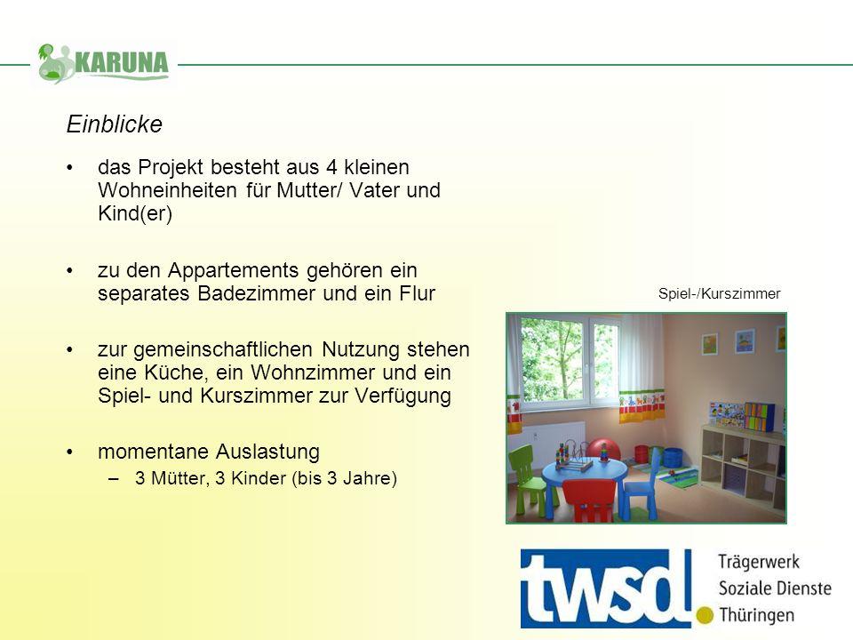 Einblicke das Projekt besteht aus 4 kleinen Wohneinheiten für Mutter/ Vater und Kind(er)