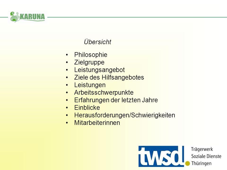 Übersicht Philosophie. Zielgruppe. Leistungsangebot. Ziele des Hilfsangebotes. Leistungen. Arbeitsschwerpunkte.