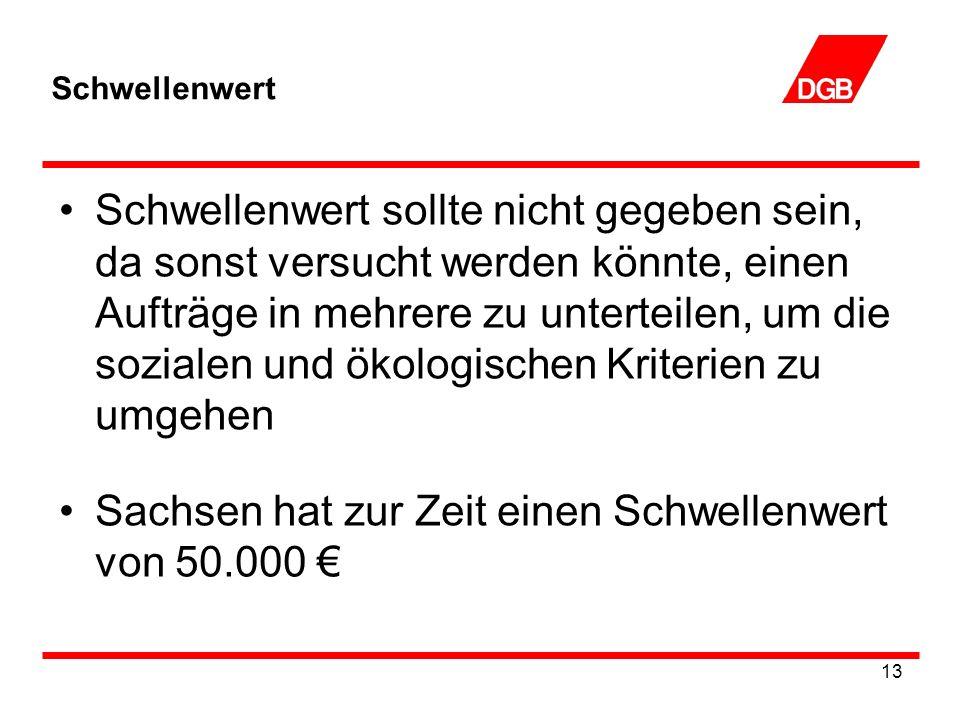 Sachsen hat zur Zeit einen Schwellenwert von 50.000 €