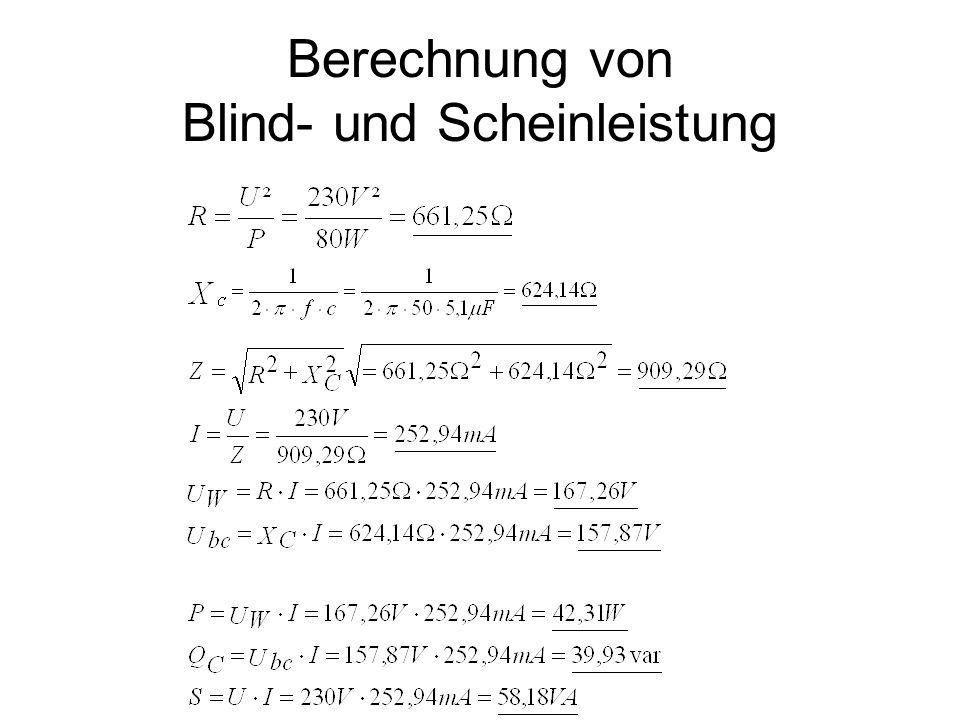 Berechnung von Blind- und Scheinleistung