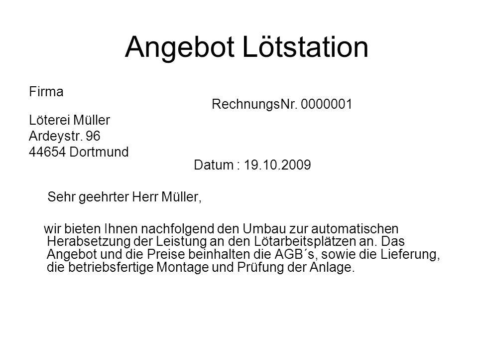 Angebot Lötstation Firma RechnungsNr. 0000001 Löterei Müller