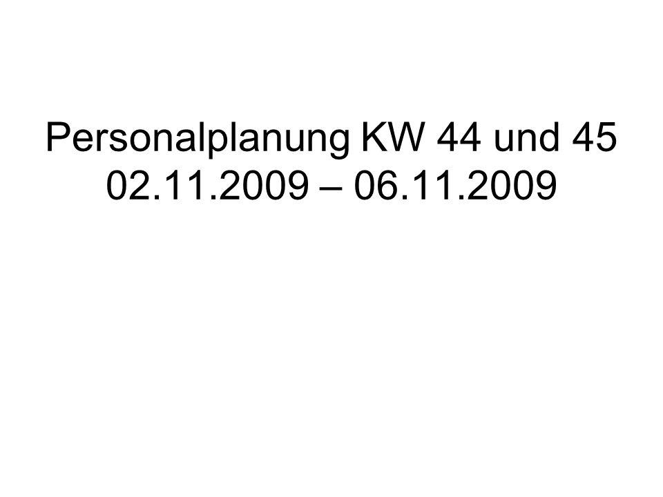 Personalplanung KW 44 und 45 02.11.2009 – 06.11.2009